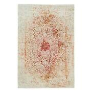 6and039x8and03910 Pink Farsian Erased Design Wool And Silk Hand Knotted Rug R63459