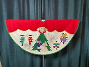 Christmas Tree Skirt Nutcracker Multi-fabric Embroider Holiday Large 45 Inch