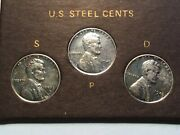 1943 Lincoln Steel Cent Penny Set Pds Mint In Case, Ww2, Km 132a