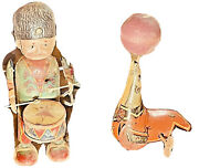 Antique Tin Wind Up Toys Circus Elephant W/floppy Ears, Seal W/ Ball And Drummer