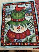 Christmas Snowman Wall Hanging Quilting Panel W/ Backing Fabric 6 Pillow Squares