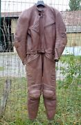 Ultra Rare Dainese Brown Leather Suit. Late 80and039s Size 50 Italian - Luce