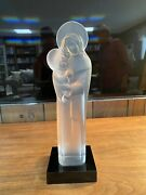 Lalique Signed Madonna Virgin Mary Crystal Frosted Satin And Clear Glass Figurine