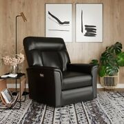 Power Recliner Push Button With Leather Gel Solid Hardwood Framing Jet Black