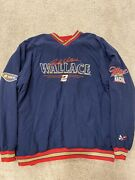 Vintage 90's Nascar Racing Rusty Wallace Pullover Windbreaker Side Patches Xxl