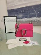 2,250 Dionysus Crystal Hot Pink Leather Chain Crossbody Bag