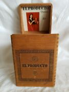 Vintage Butt Joint Wood Hinged Cover Cigar Box Wooden El Producto Queens