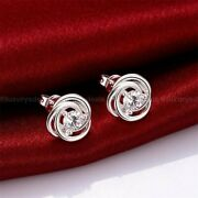 Solid 14k White Gold Moissanite Floral Stud Earrings 1.50 Ct Excellent Round Cut