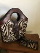 Vintage 70andrsquos Glaserandrsquos Hand-grained Leather Bag With Zebra Hide/ Matching Wallet