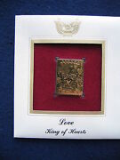 2009 Love King Of Hearts Cards First Day Replica 22kt Gold Golden Cover Stamp