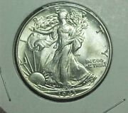 1943-p 50 Cent Walking Liberty Silver Half Dollar Bu Nice Luster And Details
