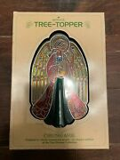 New Vintage Christmas Hallmark Acrylic Stained Glass Angel Tree Topper 1979