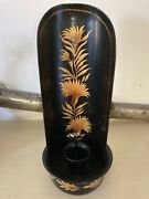 Nice Antique Vintage Painted Tin Candle Holder Wall Hanging Sconce Golden Flora