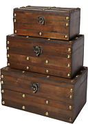 Soul And Lane Monahan Wooden Trunk Chest - Set Of 3   Decorative Storage Boxes For