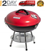 New Small Portable Charcoal Bbq Grill Outdoor Backyard Cooking Barbecue Pit Red