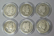 Lot Of 6 Barber Silver Quarters 1908 To 1916 In Capsules Circulated