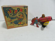 Superman Rollover Plane Classic 1940 Marx Tin Toy W/ Reproduction Box - Works