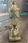 Vintage Mutual Sunset Lamp Company Green Marble Alabaster Jade Brass Table Lamp