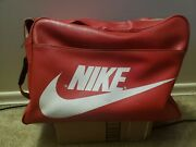 Vintage Nike Red Pinwheel Leather Duffel Bag Rare See Pictures
