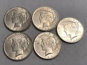 Lot Of Five Bu 1923 Peace Silver Dollar Coins. Nmm19