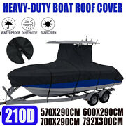Waterproof Heavy Duty Center Console T-top Under Roof Boat Cover 16ft-24ft 210d