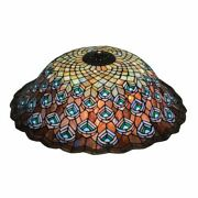 Meyda Vintage Style Peacock Feather Leaded Lamp Shade Green Blue Purple