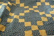 Qb4, Quilt Block/top, Blue And Brown 9 Patch, 44 X 31 In Plus Material.