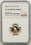 2004-w American Gold Eagle 5 Tenth-ounce Proof Pf 70 Ultra Cameo Ngc 1/10 Oz