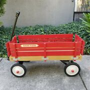 Vintage Kids 1980s Red Wooden Radio Flyer Town And Country Wood Wagon