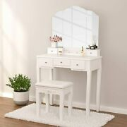 Vanity Set With Tri-folding Edgeless Mirror And 5 Drawers Makeup Dressing Table