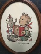Hummel Vintage Cross Stitch Goebel Boy Picture Completed Oval Frame With Glass