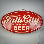 Vintage Falls City Beer Sign Marked 5-7-56 Brewing Company Louisville Ky Read