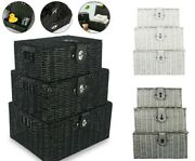 Set Of 3 Woven Storage Basket Bin Wicker Hamper Stackable Box With Lid And Lock