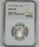 1917-s Type-1 Standing Liberty Quarter Certified Ngc Ms 64 Full Head Silver 25c