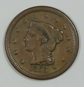 1856 Braided Hair Slanted 5 In Date Large Cent Very Fine 1c