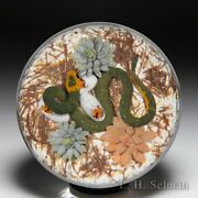 Gordon Smith 2021 Green Ground Snake Eggs And Succulents Paperweight