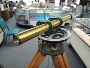 Old Vintage Brass Sight Level Transit In Case With Wooden Tripod And Stick Survey