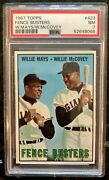 1967 Topps Fence Busters Willie Mays Mccovey 423 Psa 7 Nm - New Slab / Label