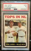 1964 Topps Tops In Nl Willie Mays Hank Aaron 423 Psa 3 Vg - New Slab / Label