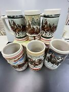 Budweiser Holiday Steins Mugs 198519881989 And More Set Of 6