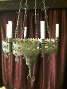 19th C French Gothic Revival Brass Sanctuary Candle Chandelier