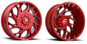 Set Of 6 20x8.25 Fuel D742 Runner Red Dually Wheels 8x200 Ford Super Duty F350