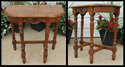 Antique Solid Mahogany Wood Demilune Half Moon Accent Lamp Table Carved Suncrest