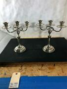 Pair Of Mexican Sanborns Sterling Silver Candelabras