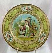 Antique Vienna Art Tin Ladies Portrait Heavy Plate Classical By Water Fountain