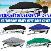 Heavy Duty 210d & Pu Ski Boat Cover Fishing Bass V-hull Trailerable Runabout