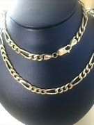 Vintage Sterling Silver 925 Figaro Link 24 Necklace Chain 27.4 Grams