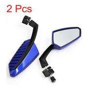 2 Pcs Blue Housing Motorcycle Adjustable Angle Rearview Blind Spot Mirrors