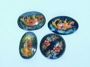 4 Russian Hand Painted Black Enamel Lacquer Brooch Pin Signed