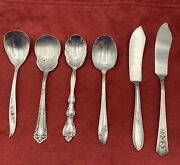 Vintage Silverplate Lot Of 2 Butter Knives 4 Sugar Jelly Spoons Mixed Flatware